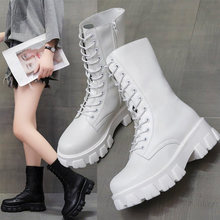2020 Women White Boots Autumn Fashion Black Leather Lace Up Platform Gothic Boots Punk Sewing Mid-Calf Boots for Women New(China)