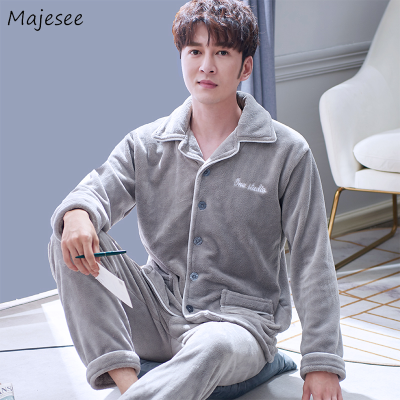 Pajama Sets Men Turn-down Collar High Quality Warm Solid Mens Plus Size Pajamas Winter Hot Sale Males Home Clothing Thicker Chic