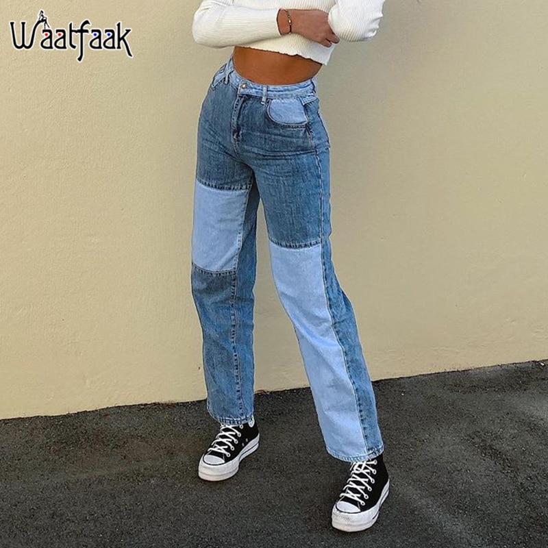 Waatfaak Contrast Patchwork Women High Waist Jeans Blue Streetwear Straight Cargo Pants Casual Push Up Denim Jeans Aesthetic Y2k