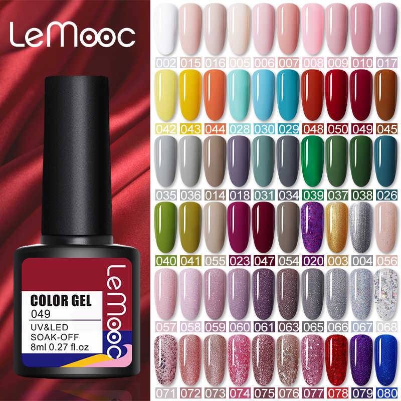 Lemooc 8Ml Nail Gel Polish Zomer Bright Uv Led Losweken Semi Permanente Voor Base Top Coat Hybrid Nail art Gel Vernissen