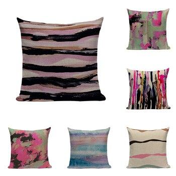 Funda de cojín con diseños en acuarelas de lino y arte abstracto funda de almohada de Color ondas rayas púrpura coche sofá decoración para el hogar funda de almohada