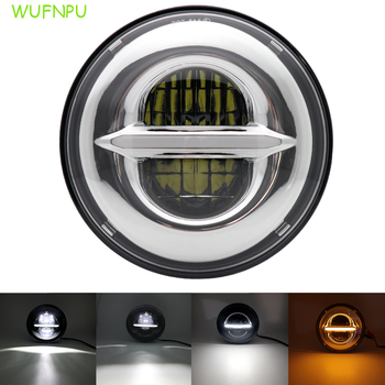 7inch LED headlight H4 white amber DRL high / low beam motorcycle headlight