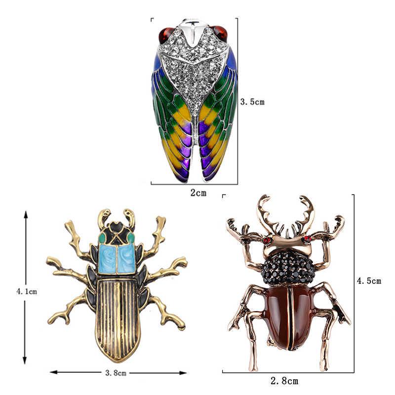 Kristal Vintage arı uğur böceği broş kadınlar için büyük böcek broş Pin moda elbise ceket aksesuarları sevimli takı