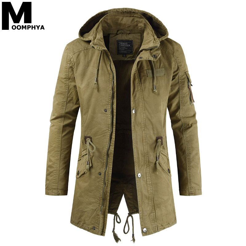 Moomphya Long Style Winter Hooded Jacket Men Streetwear Military Tactical Jacket Men Clothes 2019 Wind Breaker Casual Coat Men