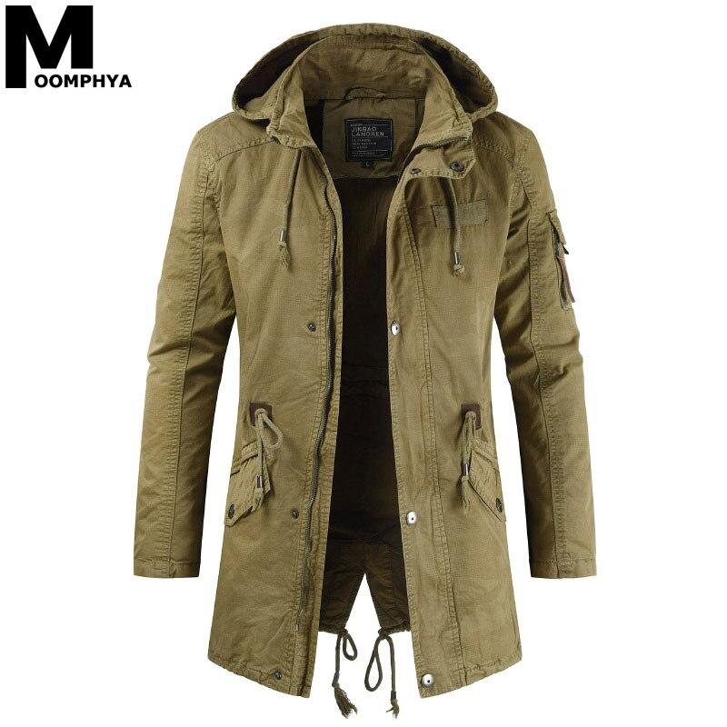 Moomphya Long Style Winter Hooded Jacket Men Streetwear Military Tactical Jacket Men Clothes 2019 Wind Breaker Casual Coat Men