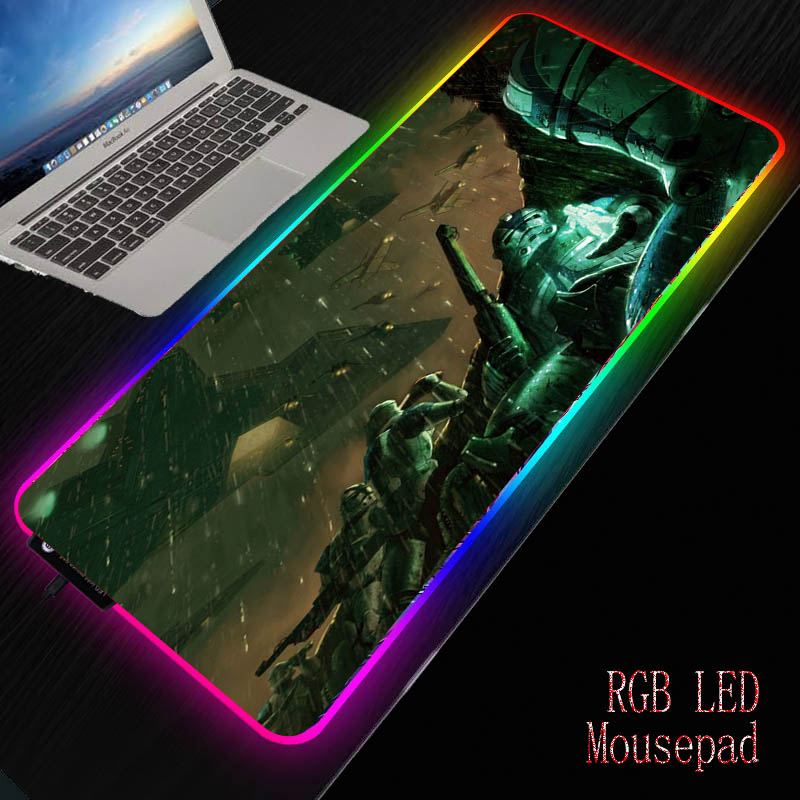 MRGBEST Movie Star Wars Gaming Mouse Pad Computer Gamer RGB LED Mousepad Large Game Mouse Mat Anime Big Mause Pad for PC Laptop image