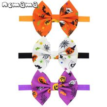 2Pcs/lot Halloween Printed Headband for Baby Girls Funny Large Bowknot Elastic Head Wrap Party Hairbows Kids Hair Accessories