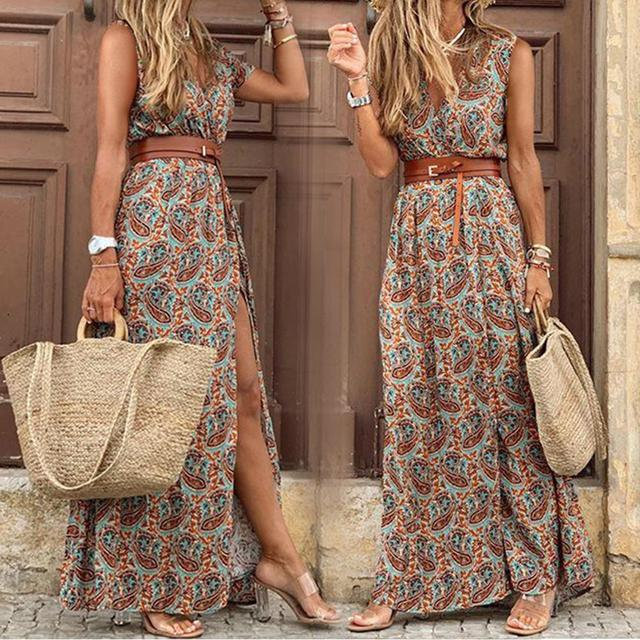 Boho  Deep V Neck Sleeveless Paisley Print Belt Dress 1