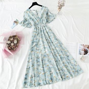2021 Summer Women Ruffled Short-sleeved Chiffon Dress V-neck High Waist Floral Print Beach Midi Dresses Backless Sexy Vestidos 1