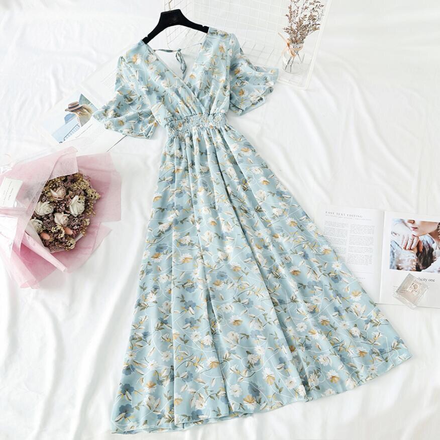 2021 الصيف المرأة تكدرت قصيرة الأكمام فستان من الشيفون الخامس الرقبة عالية الخصر الأزهار طباعة شاطئ فساتين متوسطة الطول عارية الذراعين مثير Vestidos|Dresses| - AliExpress