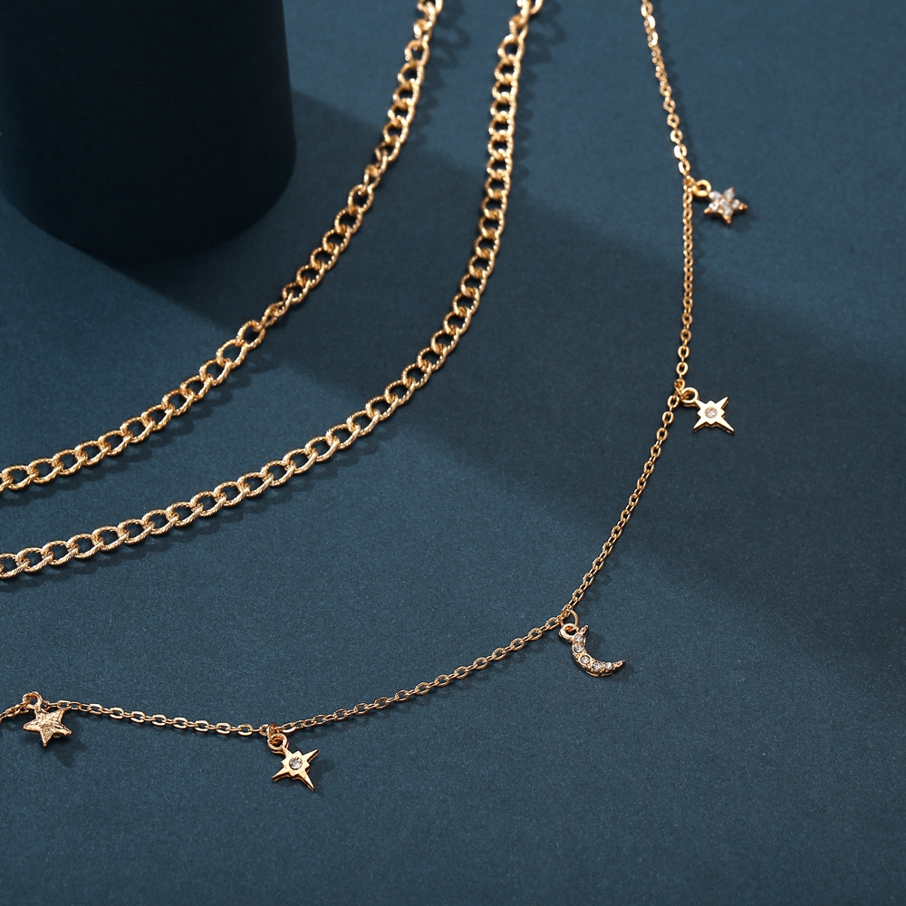 17KM Vintage MOON Star Necklace For Women Gold Color Beads Pendants Necklaces Portrait Chokers 2020 Bohemian Jewelry Gift