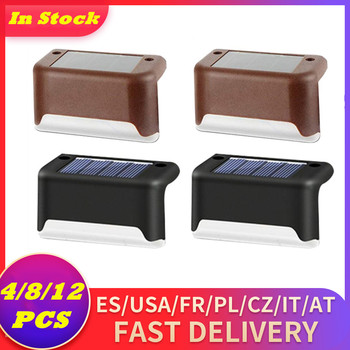 hot solar powered power led square white light for fence post pool garden yard pathway outdoor christmas decor 4/8/12PCS Solar Lamp Outdoor Stairs Fence Led Solar Light Solar Powered Garden Light Waterproof Lantern Patio Pathway Yard Light