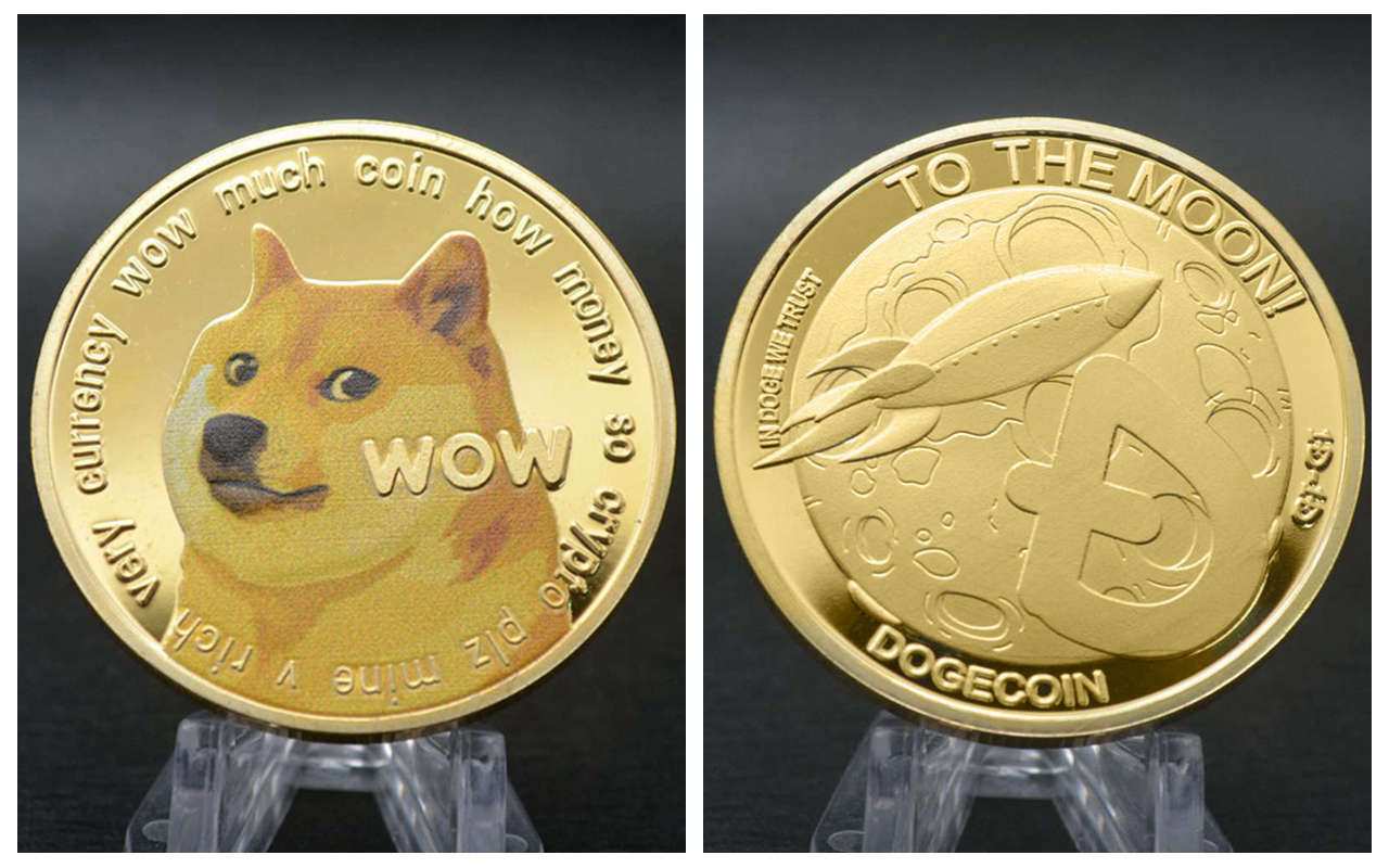 Золотистая/Серебристая позолоченная волна эфириума Биткоин догкоин TRX Ada Кардано QTUM IOTA бинтенс цифровая валюта памятные монеты