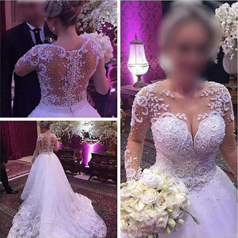 Одежда с длинным рукавом Роскошные свадебное платье бохо Жемчуг бальное платье элегантные свадебные платья Robe De Брак Свадебные платья из фатина Trouwjurk 2020