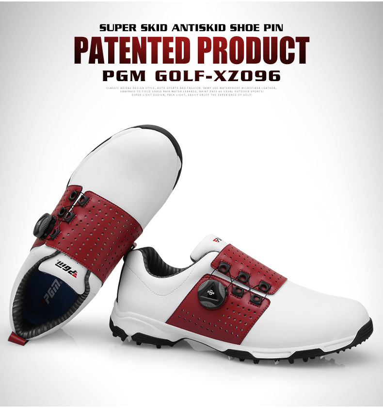 Image 4 - Pgm Golf Shoes Men Leather Waterproof Sneakers Anti slip  Automatic Shoelace Soft Comfort Breathable Sport Golf Training  ShoesGolf Shoe
