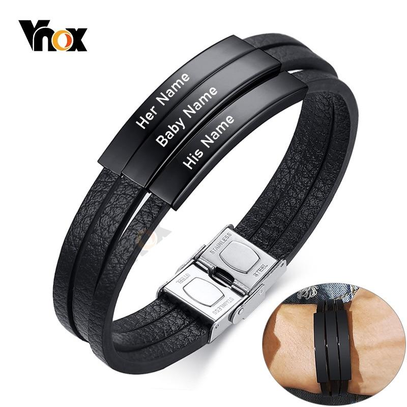 Vnox kişiselleştirin Engrave adı erkekler çok katmanlı siyah deri sargı bilezikler özel BFF aile aşk hediyeler takı