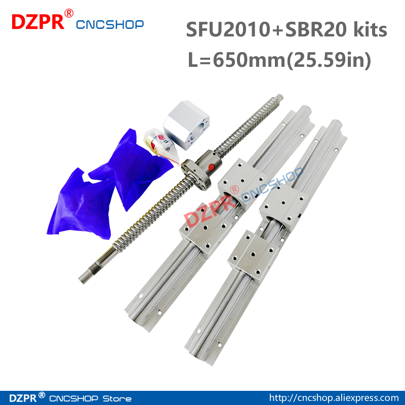 CNC Parts Set SFU2010 650mm 25.59in + SBR20 650mm Rail SBR20UU block BK15/BF15 End Support+RM2010 Nut housing 12mm*8mm coupler