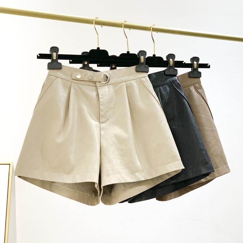 Leather Shorts Women Fashion New Slim Short Femme High Waist Wide Leg Women Shorts Loose Apricot Black Sexy Biker Shorts C6066