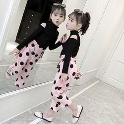 Menina conjunto de roupas tamanho para 2t 3 4 5 6 7 8 9 10 anos manga longa calças 2 pçs ternos moda bebê meninas bodysuit crianças conjunto