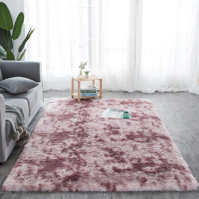 Long Hair Tie Dyeing Carpet Bay Window Bedside Mat Soft Area Rugs Shaggy Washable Blanket Gradient Color Living Room Rug