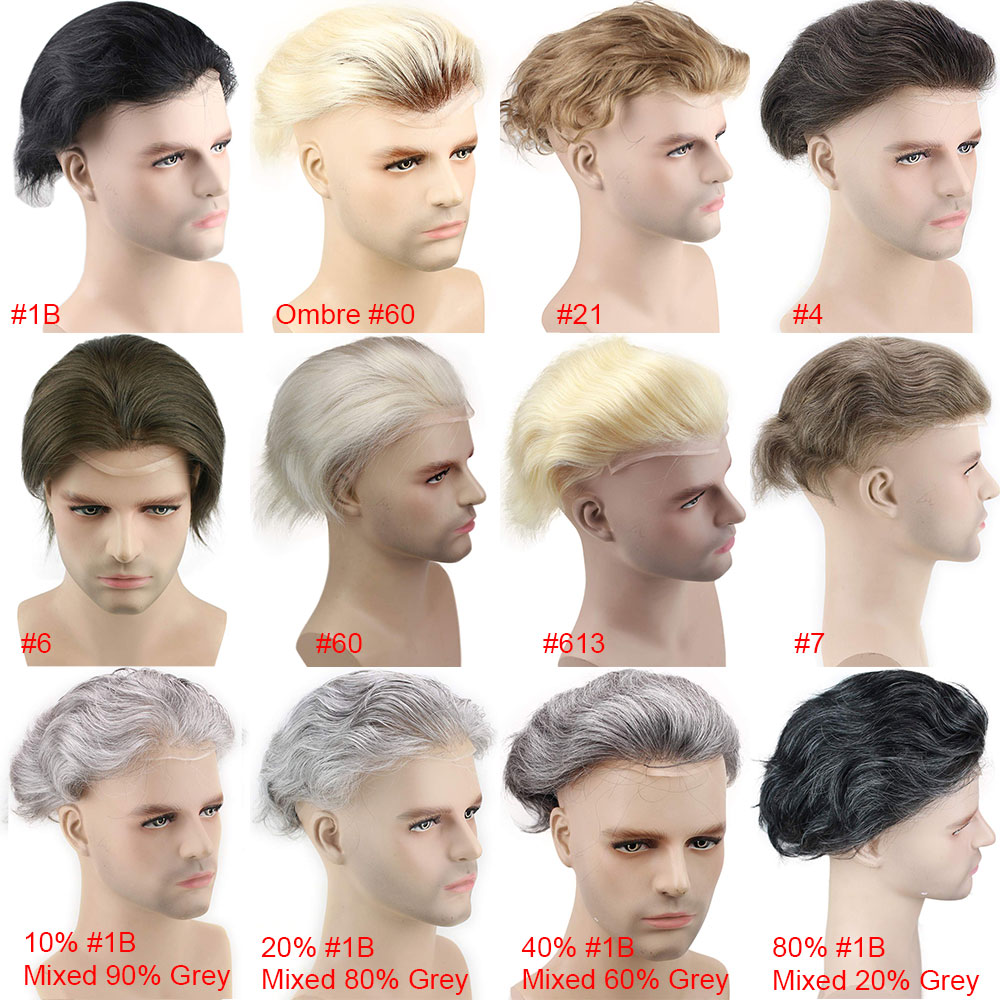 Image 5 - VERSALITE Human Hair Men Hairpiece Toupee French Lace Replacement For Men Wig Thin Skin European Remy Hair Pure White Color 10x8Toupees   -