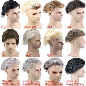 """Image 5 - 인간의 머리카락 남자 hairpiece toupee 남자를위한 프랑스 레이스 교체 가발 얇은 피부 유럽 레미 헤어 613 금발 색상 10 """"x8"""" eseewigs"""