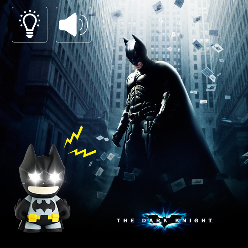BRELONG Batman Led Light Keychain Flashlight D Buckle Cartoon Night Light With Sound Children Gift