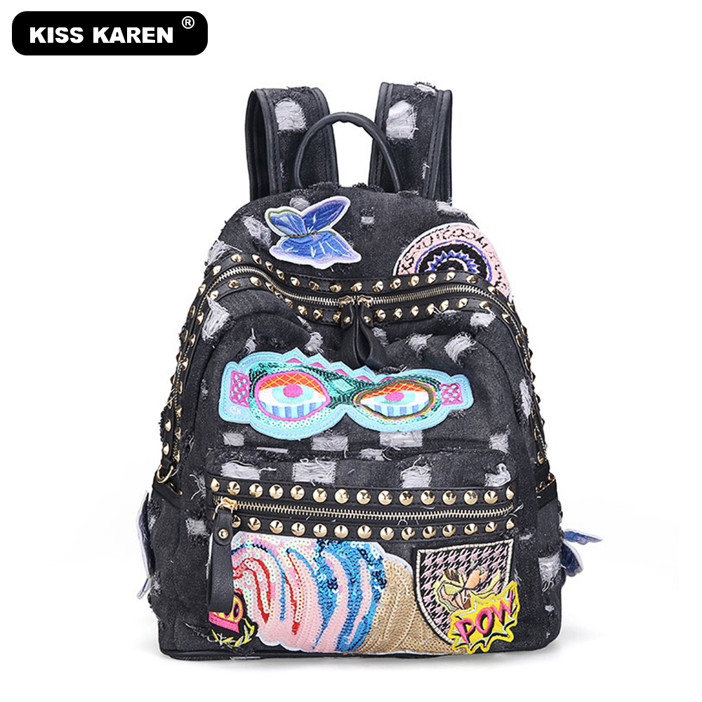 Casual Fashion Women Backpack Rivets Denim Backpacks Jeans Women's Backpacks Girls Backpack Bag Casual Daypacks