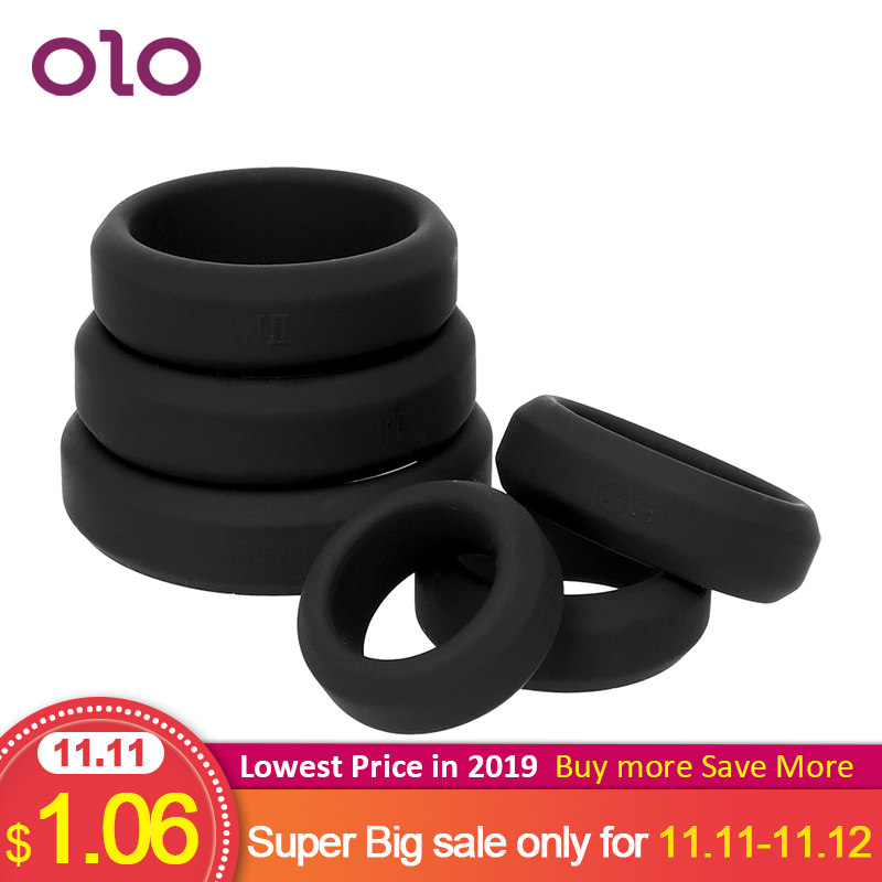 OLO Penis Ring Elastic Cock Ring Delay Ejaculation Silicone Sex Toys For Men Adult Products 6 Sizes