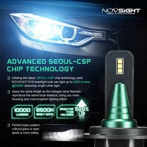Image 2 - NOVSIGHT 2pcs טורבו led רכב אור h4 h7 h11 h8 led הנורה 6500k 12v 24v 10000lm IP68 עמיד למים סופר led רכב פנס נורות