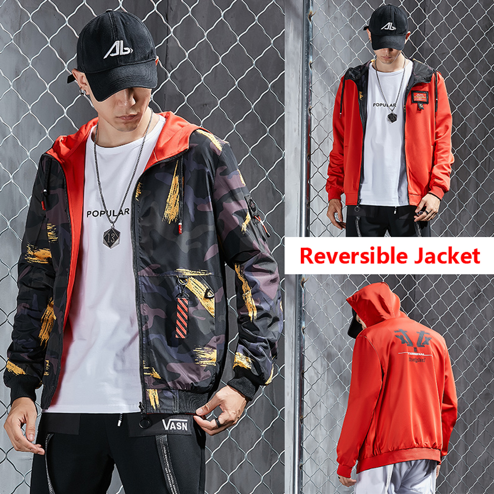 Reversible Hooded Jackets Streetwear Men's Windbreaker Clothes Male Camouflage Winter Coats Casual Brand Jackets Man 2020 Spring