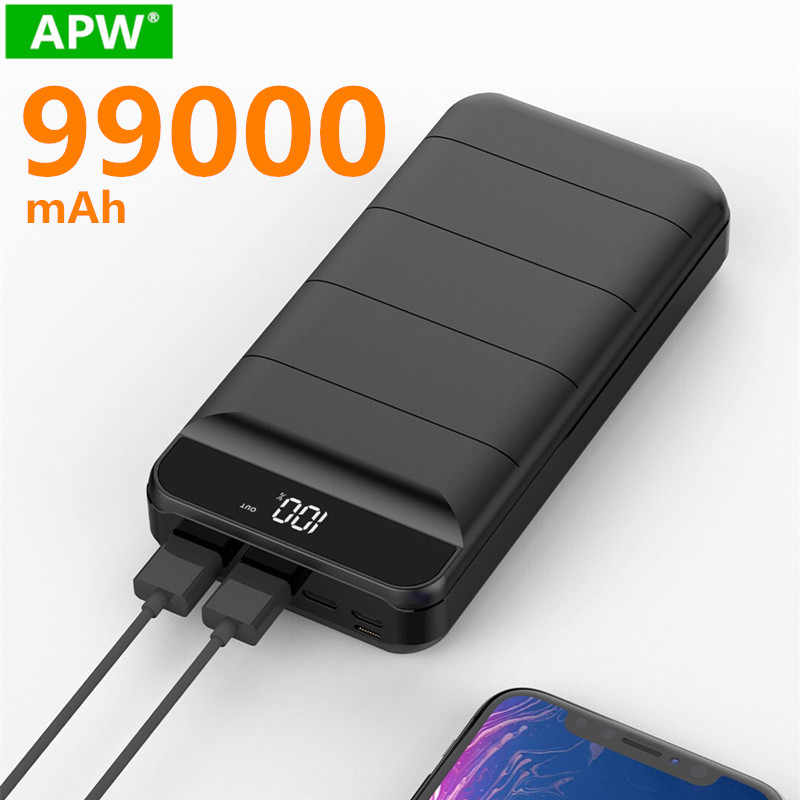 99000mah Power Bank Externe Batterie PoverBank 2 USB LED Power Tragbare handy Ladegerät für Xiao mi mi iphone 8 X Huawei