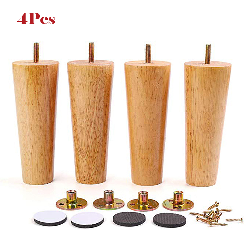 1/4PCS Furniture Legs Solid Wood Sofa Replacement Leg For Coffee Tea Table Cabinet M8 With Iron Plate Couch Table Cupboard Feet