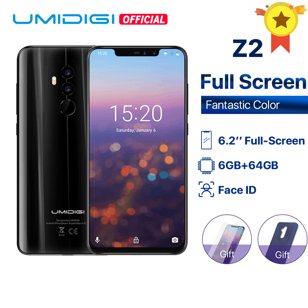 "UMIDIGI Z2 Global Version Helio P23 6GB RAM 64GB ROM 6.2"" FHD+ Full Screen Quad Camera Android 8.1 3850mah Face ID 4G Cellphone"