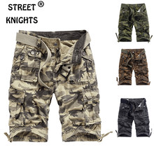 Men's 2021 Summer New Casual Loose Camouflage Cargo Shorts Men Multi-Pocket 100% Cotton Street Military Knee-Length Beach Shorts
