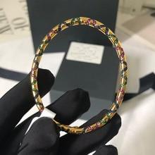 UMGODLY Luxe Merk Mode Armband Multicolor Stenen Tribal Bangle met Ovale Plaat Geometrische Vormen Vrouwen Mana Sieraden