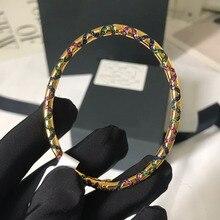 UMGODLY lüks marka moda bilezik renkli taşlar Tribal bileklik oval tabak geometrik şekiller kadınlar Mana takı