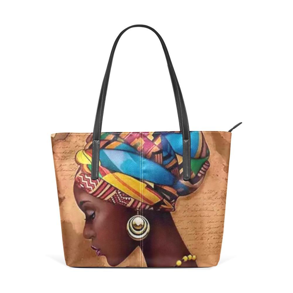 ALAZA New Bag Handbag Ladies' Canvas Afro African Girls Black Painting Big PU Leather Women Shoulder Bag Shopping Messenger Bags