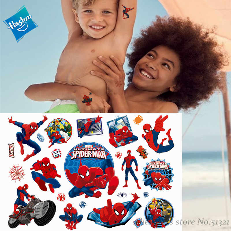 Hasbro Marvel Captain Americe Spiderman Kinderen Cartoon Tijdelijke Tattoo Sticker Voor Jongens Cartoon Speelgoed Waterdichte Kids Gift
