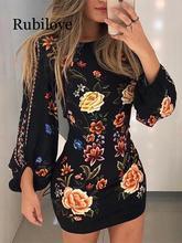 Rubilove 2019 Elegant Fashion Women Slim Fit Leisure Casual Bodycon Mini Dress Female Cutout Back Bishop Sleeve Floral Dress plus sweetheart bishop sleeve dress