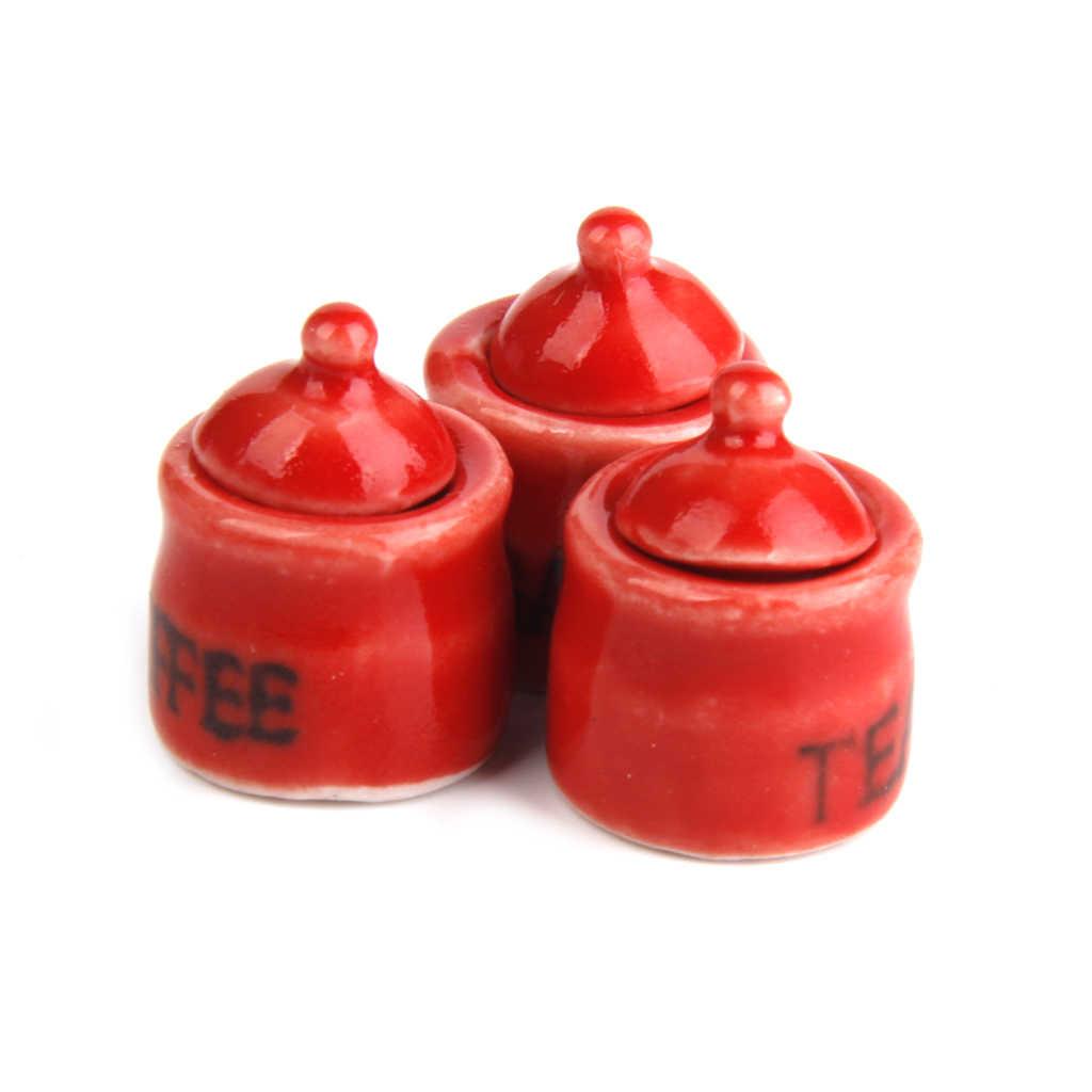 1/12 Keramische Poppenhuis Miniatuur Opslag Potten Met Deksels Decoratie 1 Set Rood