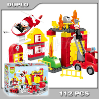 112pcs My First Fire Station Town Fire Truck Rescue Team Firefighter Model Building Blocks Toy Bricks Compatible with Lego Duplo