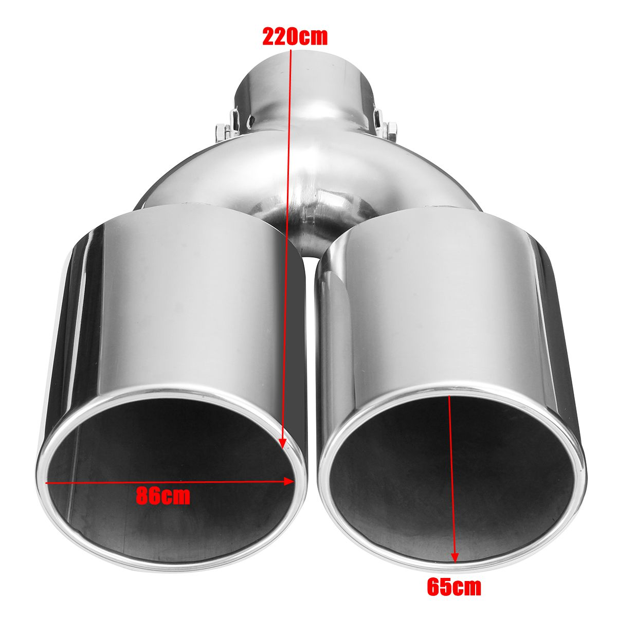 Universal 60mm Double Outlet Stainless Steel Chrome Car Muffler Exhaust Pipe Tip End Trim Modified Tail Throat Liner Pipe Silver image
