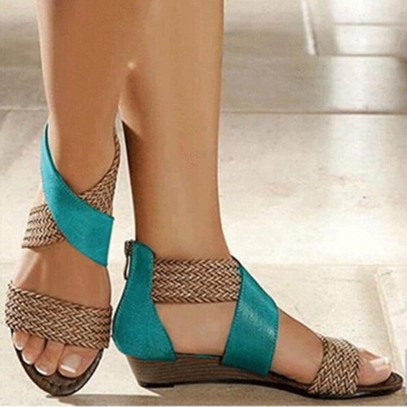 Summer Women Rome Open Toe Sandals Woman Hemp Ladies Wedges Women