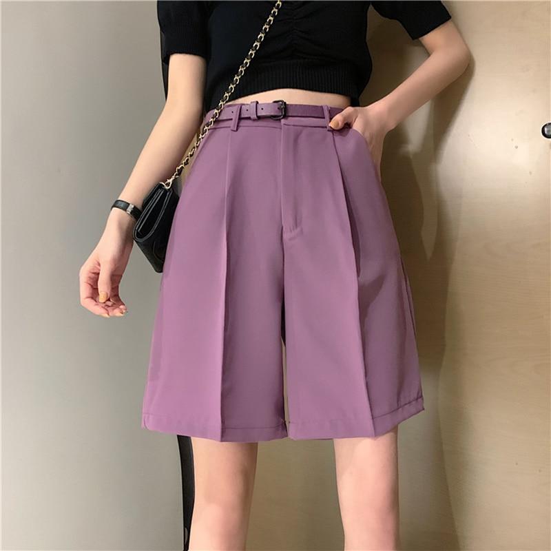 Belt Suits Shorts Women Summer New Casual High Waist Female Wide Leg Short Elegant Streetwear All-match Fashion Outfit Plus Size