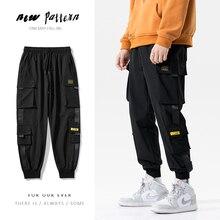 Streetwear Casual Joggers Men Side-pocket Mens Cargo Pants Fashion Slim Ribbons Sweatpants Harem Pants Ankle-length Men Trousers
