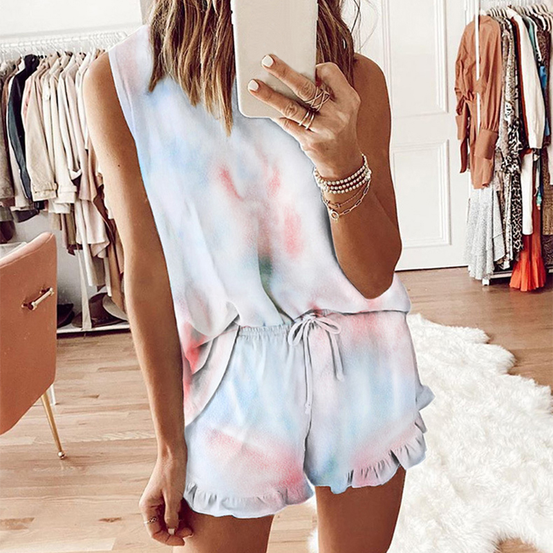 Summer Womens Tie Dye Printed 2 Pcs Short Pajamas Set Leopard Sleeveless Sleepwear Set Casual Loungewear Nightwear 2020 Summer
