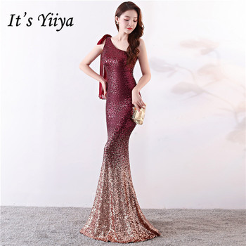 Burgundy Evening Dress It's Yiiya DX357 Mermaid Long  Robe De Soiree Sleeveless Plus Size Gradient Sequin Evening Dresses 2020