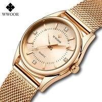 WWOOR 2021 Luxus Diamant Frau Uhr Frauen Rose Gold Kleine Armband Handgelenk Uhren Geschenke Für Frauen Quarz Uhr Relogio Feminino