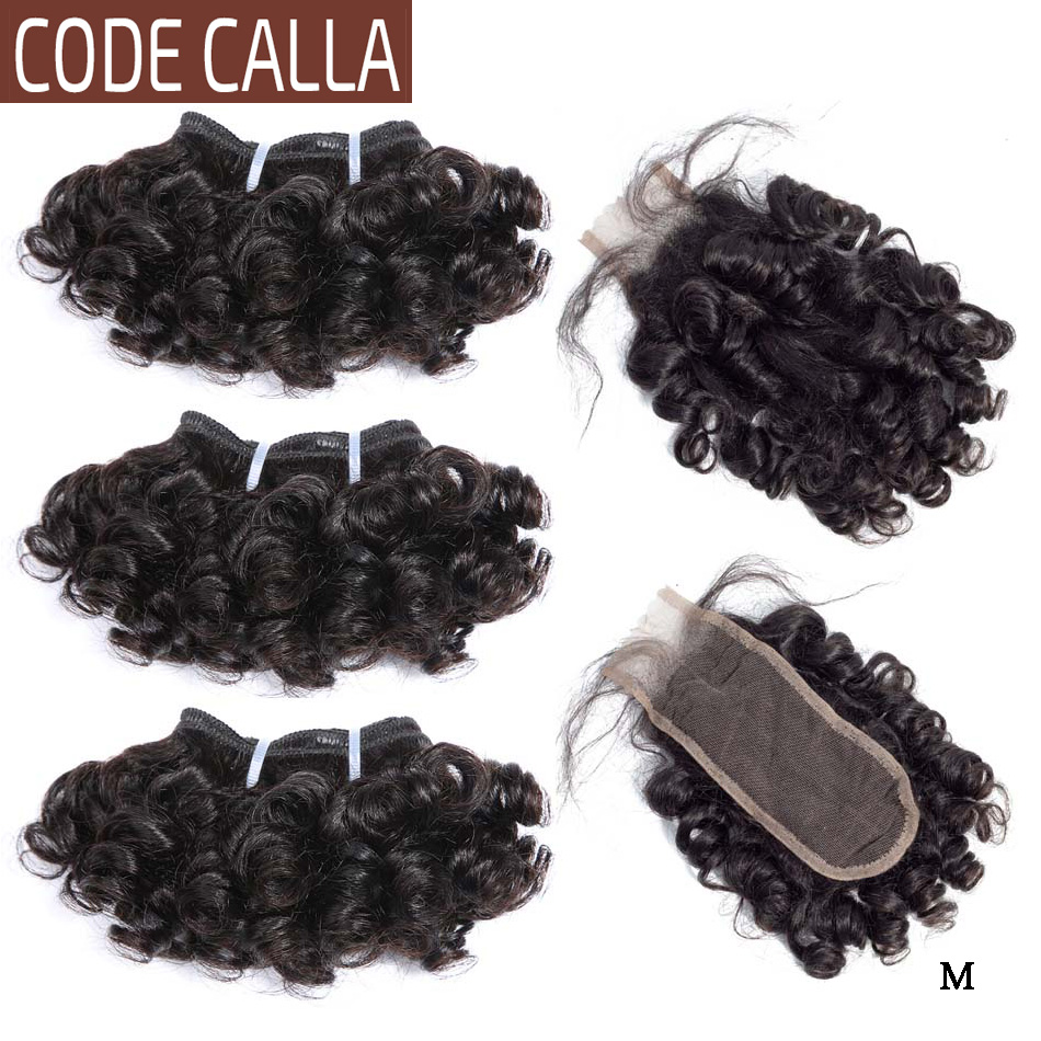 Code Calla Bouncy Curly Bundles With 2*6 KIM K Lace Closure 6 Inch Indian Remy Human Hair Extensions Weft Natural Black Color